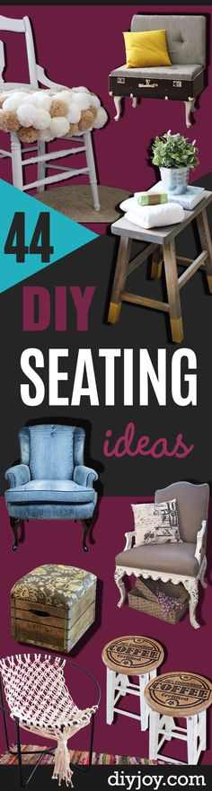 DIY Seating Ideas - Creative Indoor Furniture, Chairs and Easy Seat Projects for Living Room, Bedroom, Dorm and Kids Room. Cheap Projects for those On A Budget. Tutorials for Cushions, No Sew Covers and Benches http://diyjoy.com/diy-seating-chairs-ideas