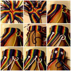 Really cool macrame pouch tutorial Macrame Bag, Macrame Knots, Micro Macrame, Diy Bracelets With String, Yarn Bracelets, String Crafts, Yarn Crafts, Friendship Bracelet Patterns, Friendship Bracelets