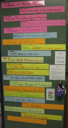"""Use laminated sentence strips for a """"micro blogging"""" wall in the library.  Students can add their own with dry erase markers. Teen tech week idea"""