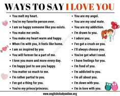 55 Romantic Ways to Say I Love You in English - English Study Online English Learning Spoken, Learning English For Kids, English Language Learning, Learn English Words, English Study, English English, Love You Hubby, Say Love You, Someone Like You