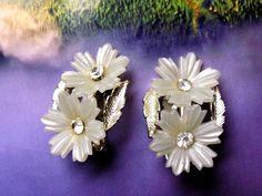1950's Coro White Flower Rhinestone Gold Tone Clip On Earrings, Designer Signed, Spring Summer Earrings by dazzledbyvintage on Etsy
