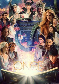Elsa, Anna, Rumple, Ingrid, Killian, Cruella, Maleficent, Ursella, Emma, Charming, Snow, Belle, Regina, and Henry