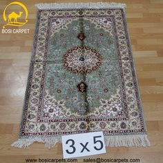 Hand knotted silk rug # Rug No.: P3079 # Quality: 180L (225kpsi) # Size: 3x5ft (152) # Material: 100% Silk # wholesale Price: $525/piece # If you have any interests, please email to sales@bosicarpets... handmadesilkcarpet#handmaderug#silkrug#silkcarpet#carpet#persiancarpet#persianrugs#rug#handmaderug#handknottedrug#iranrug#chineserug#turkeyrug#turkishcarpets#silkcarpets#silk#floorrug#hali#ipekhai#redrug#bluecarpet#turleycarpet