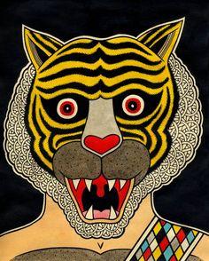 i love you Matt Leines Pet Tiger, Tiger Head, Art In The Age, Vintage Illustration Art, Art Brut, Modern Art Paintings, Witch Art, New Art, Art Inspo