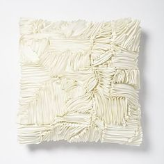 Ruffle Ribbon Pillow Cover - Ivory #westelm This one is on sale for $20 so snatch is up if you like it!