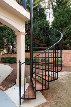 Exterior spiral stairs add a modern flair to your multi-level deck or outdoor room project. We specialize in graceful spiral stairs that wow your guests. Spiral Staircase Outdoor, Outdoor Stairs, Deck Stairs, House Stairs, Outside Stairs, Casa Patio, Exterior Stairs, Staircase Makeover, Roof Architecture