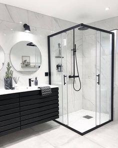 Banheiro preto e branco: 50 dicas e inspirações Bad Inspiration, Bathroom Inspiration, Interior Inspiration, Inspiration Fitness, Fashion Inspiration, Bathroom Goals, Dream Bathrooms, Master Bathrooms, Small Bathrooms