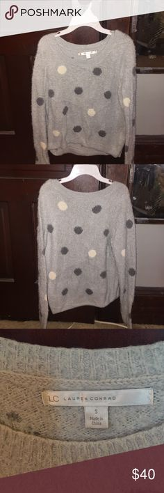 LC Lauren Conrad polka dot fuzzy eyelash sweater This fuzzy polka dot eyelash sweater is so soft and perfect for fall/winter. This was received as a gift and was never worn. In great condition. The material is nylon/cotton/acrylic and is hand wash only. It is very slightly cropped and has a scoop neck. LC Lauren Conrad Tops Blouses