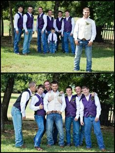 Groom with the Groomsmen photos. Purple vests. White pearl snaps. Jeans  boots ;) such a handsome Groom right there!❤