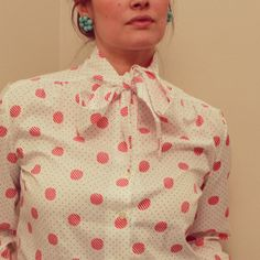 Vintage 1980's long sleeve red and blue polka dot blouse/shirt with tie on Etsy, $16.00