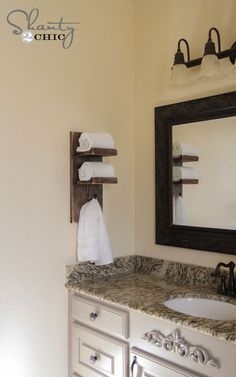 Our Cottage Super Cute DIY Towel Holder! - Shanty 2 Chic The Well Stocked Kitchen Every cook dreams Bathroom Hand Towel Holder, Bathroom Towel Storage, Diy Bathroom, Bathroom Towels, Bathroom Ideas, Downstairs Bathroom, Bath Towel Racks, Shanty 2 Chic, Towel Holder Stand