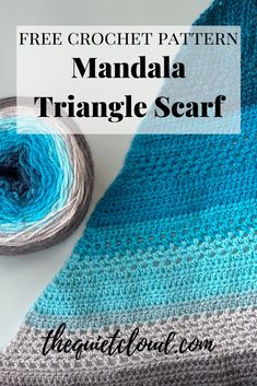 Introducing The Quiet Cloud's newest free crochet pattern - The Mandala Triangle Scarf! Tunisian Crochet, Crochet Shawl, Crochet Yarn, Free Crochet, Lion Brand Mandala Yarn, Lion Brand Yarn, Knitting Patterns, Crochet Patterns, Crochet Ideas
