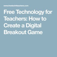 Breakout EDU has been a breakout hit in classrooms over the last couple of years. The success of the physical Breakout EDU games has spurre. Breakout Edu, Breakout Game, Breakout Boxes, Teacher Tools, Teacher Resources, Teacher Stuff, Library Skills, Teaching Techniques, Review Games