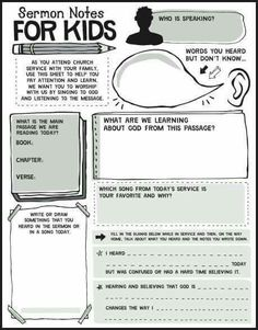 This is awesome! A great guideline to teach kids how to take notes in church…