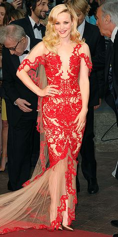 Rachel McAdams in a red Marchesa gown complete with illusion cap-sleeves and a sheer 5-foot-long train