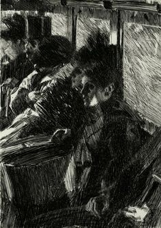 anders zorn omnibus 1892. i like the dark value in the peice, it is all over. this is more of a darker drawing. there are lighter spots on the left and top right.