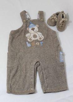 c07f2953d Koala Baby Infant 3/6 months Snow Bear Overalls n Shoes set Baby Boy Fuzzy
