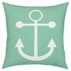"Throw pillow in mint with a white anchor print.  Product: PillowConstruction Material: Polyester and cottonColor: Mint and whiteFeatures: Insert includedDimensions: 18"" x 18"" Cleaning and Care: Wipe with damp cloth"