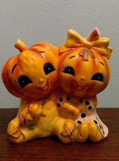 Vintage Lefton Ceramic Halloween Fall Thanksgiving Pumpkins | #1816165121