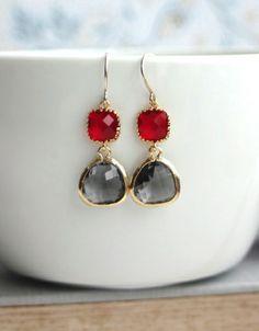 Red and Grey Black Diamond Glass Drop Dangle Earrings. Red and Grey Wedding | By Marolsha