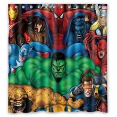 Avengers Shower Curtain Bathroom Decor Iron Man, Thor, Hulk, Spiderman, Wolverine, Captain America