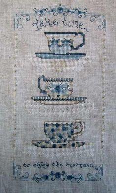 Tea Cups Cross Stitch ~