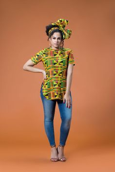 The Raakel Top is stunning in the Yellow African Print. It's comfy to wear and will make sure you stand out in a crowd African Print Shirt, African Print Dresses, African Dress, African Prints, African Men Fashion, Africa Fashion, African Beauty, African Attire, African Wear