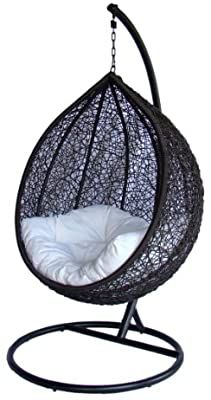 Egg Swing Chair, Hanging Hammock Chair, Swinging Chair, White Wicker Chair, Wicker Chairs, Canopy Outdoor, Outdoor Seating, Swing Cover, Wooden Patios