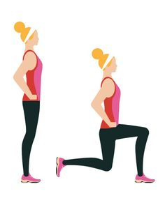 Walking lunges: 3 sets of 20  Intermediate workout routine - From standing, step forward with one foot, dropping your hips towards the floor and bending both knees – don't bend your front leg more than 90°. Push up, step forward with your back foot and repeat. Click to read the full workout on You & Your Wedding's website.