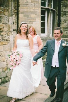 Sarah and Dan on their way to the reception near Lincoln Cathedral
