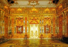 Amber Room - Catherine Palace - Tsarskoe Selo Russia. Original Amber Room chipped apart & stolen by invading Germans; never found. Current Amber Room is an exact reproduction.