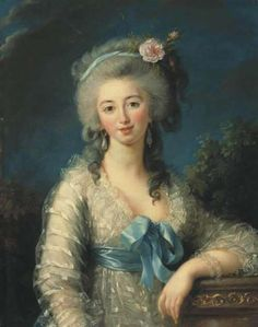 I'm no expert but I am guessing a date of circa 1780-4 judging by the lady's dress and hairstyle, which narrows it down to quite a few possibilities, including the Duchesse de Chaulnes, Marie Antoinette's lady in waiting, who was painted in 1781.