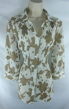 Coldwater Creek NEW Multi-Color Floral 3/4 Sleeve Button Down Blouse Ladies M