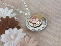 Personalized Mothers Jewelry - Hand Stamped Mom Necklace - Mixed Metals Custom Mom Jewelry - heart - sunshine. $45.00, via Etsy.