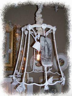 Vintage Lamp Shade Chandelier muslin lace rosettes by SoShabbyJen, $52.50