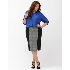 Lane Bryant Plus Size Houndstooth midi pencil skirt, Women's, Size:... (3.875 RUB) ❤ liked on Polyvore featuring skirts, plus size black skirt, black pencil skirt, plus size midi skirt, black knee length pencil skirt and plus size pencil skirt