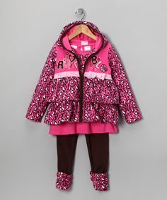 Take a look at this Pink Heart Zip-Up Hooded Jacket Set - Toddler & Girls by Fall Forward: Girls' Apparel on #zulily today!