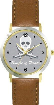 Pirate Skull & Crossed Swords No.2 - Pirate Theme - WATCHBUDDY® DELUXE TWO-TONE THEME WATCH - Arabic Numbers - Brown Leather Strap-Children's Size-Small ( Boy's Size & Girl's Size ) WatchBuddy. $49.95. Save 38%!
