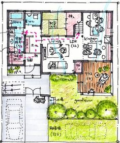 389 Craftsman Floor Plans, House Floor Plans, Japanese Architecture, Architecture Plan, Japan House Design, Book Cafe, Japanese House, House Layouts, Planer