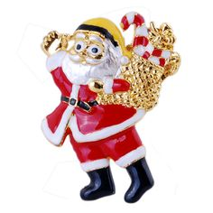 Top Quality Sparkling Enamel Santa Claus Brooches shinning gold plating Color metal brooch pin for christmas gift
