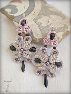 Delicate Silver Mauve and Black Soutache Earrings, Hand Embroidered Soutache…