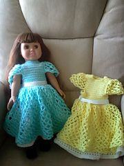 Ravelry: American Girl Doll Princess Dress pattern by Elaine Phillips ~ **Free Crochet Pattern ~ This is the same dress as the purple (lilac) dress, but I wanted to see it already made in different colours**
