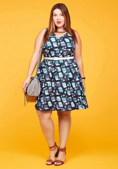 Turn Back Timeless A-Line Dress in Typist in 2X, #ModCloth
