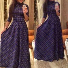 Vintage Turtle Neck Long Sleeve Lace-Up Plaid Dress For Women Vintage Style Dresses, Trendy Dresses, Casual Dresses, Fashion Dresses, Dress Vintage, Maxi Dresses, Long Dresses, Woman Dresses, Fashion Clothes