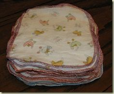 Homemade baby wipes from flannel (tip: make double-sided, soft flannel on one, terry on the other for scrubbing) Sites with some other information, wipe solutions and what not: http://www.myhappycrazylife.com/make-your-own-cloth-wipes/ http://www.make-your-own-baby-stuff.com/make-your-own-baby-wipes.html http://baby.about.com/od/livingwithbaby/ht/cloth_baby_wipes.htm