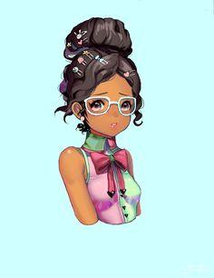 "Tags: ""brown hair"" ""dark skin"" ""glasses"" ""hairpins"" ""jewelry"" ""long hair"" ""odango"" ""pink eyes"" ""ribbon"" Artist: ""Vaniilya"""