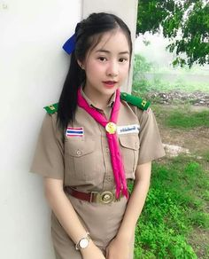 Cute Asian Girls, Cute Girls, Sons Of Anarchy Mc, Cute School Uniforms, Gorgeous Women, Gorgeous Lady, Beautiful, Military Jacket, Girl Fashion