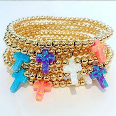 Bracelets By Vila Veloni Multicolor Cross Opal Stone