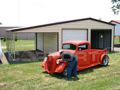 This custom metal garage features a two-bay garage with a covered lean-to on the left side. Got toys? Protect them with a garage to make them last!