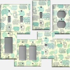Baby Elephants Boys Nursery Decor Light Switchplates & Outlet Covers Blue Grey Green